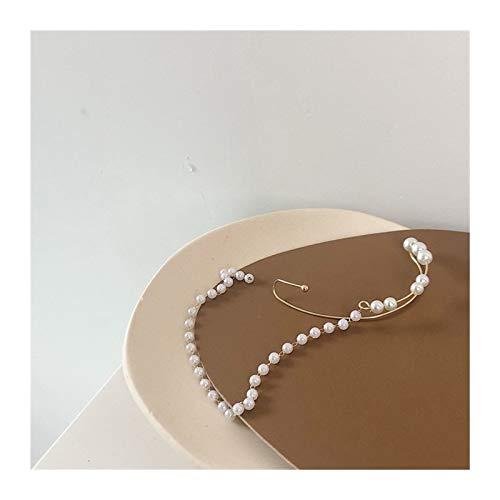 Pendientes Largos De Perlas Franceses Retro Sin Penetrador De Orejas Elegantes Perforadas En Pendientes para Mujer Niñas Moda Estética (Metal Color : B)