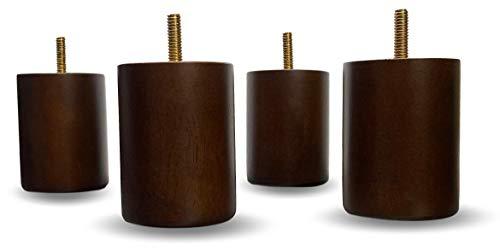 Elegent Upholstery Holzbeine für Sofa/Couch/Stuhl, zylindrisch, 7,6 cm, Walnussholz, 4 Stück