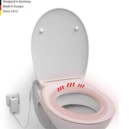 LUVETT® PREMIUM WC-SITZ C880E oval mit Erwärmung/Heizung & Absenkautomatik SoftClose® & EasyClean Abnahme, hygienisch & beständig: Urea Duroplast Toilettendeckel, rostfreier Edelstahl, Farbe:Weiß