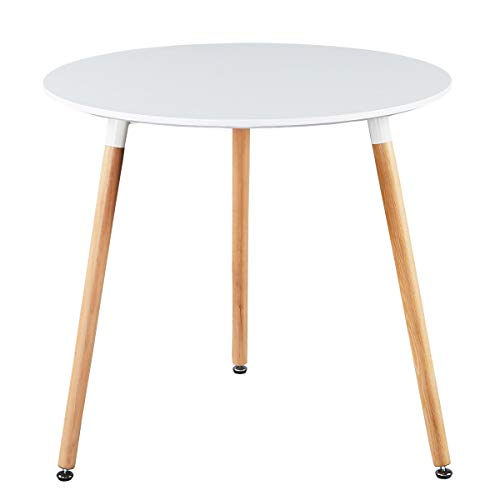 GreenForest Dining Table White Modern Round Table with Wood Legs for Kitchen...