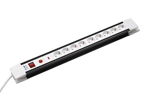 Meister stekkerdoos 9-voudig - 1,4 m kabel - zwart-wit - kunststofkabel - IP20 binnenshuis - schakelaar - ÜSS/stekkerdoos/meervoudige stekkerdoos/tafelstopcontact / 7431030