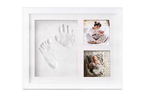 Ideas de regalo para niño con huellas de manos y pies para fotos de bebé, marco con fotos más grandes, marco vertical para manualidades, con arcilla, perfecto también para tu animal doméstico