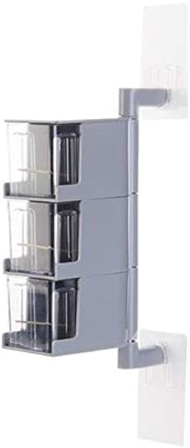Zoomy Far Multi-Tier 360 Degree redating Wall Mount Spice Rack Seasoning Storage Box Jars Organizer Condiment Containers Kitchen Tools   3 Tiers Grey