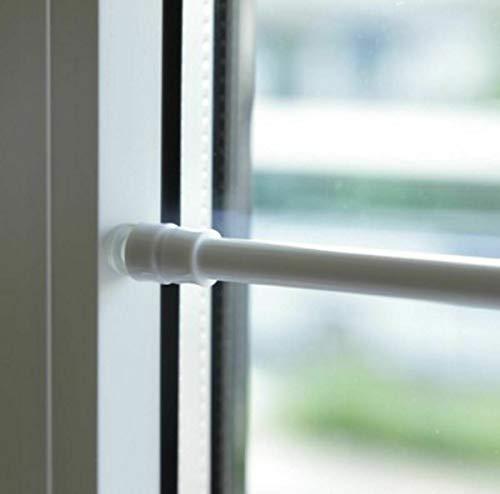 DecoHomeTextil Klemmstange Gardinenstange 80 bis 120 cm Weiß für Bistro Gardine Flexibel mit Saugknopf