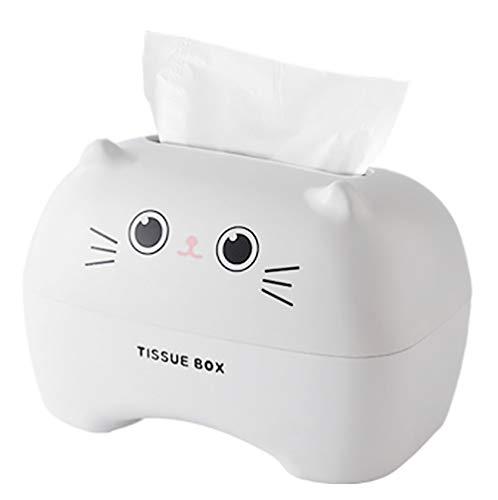 CYJZHEU Casa Kosmetiktücherbox, Feuchttücher-Box Rechteckiger Taschentuchspender Papierhandtuch Box Cartoon Tissue Container für Home Office Auto Tissue Cover Hotel Restaurant Dekoration (Weiß)