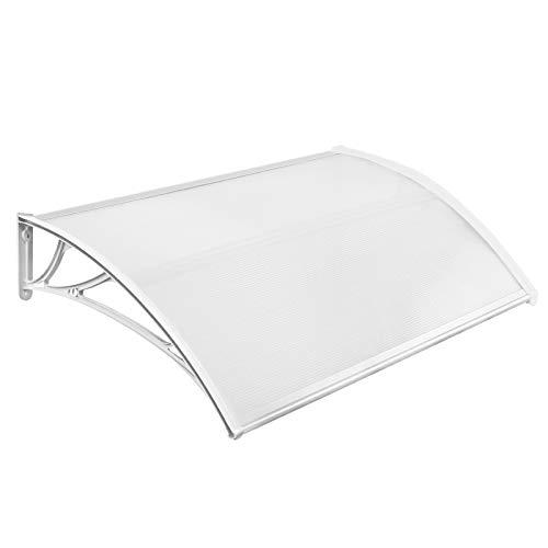 Aufun 150 x 100 cm Pensilina Tettoia per Porta Balcone Esterno Tenda da Veranda Modulabile Polipropilene Pensilina, Supporto Bianco
