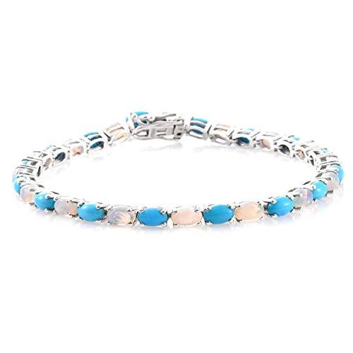 Shine Jewel 6.5 CTS Ópalo, Turquesa Pulsera de Tenis de Doble Piedra de Plata de Ley 925 chapada en Platino con Piedras Preciosas