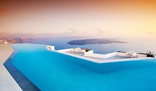Malen nach Zahlen für Kinder Santorini Pool Leinwand Malvorlagen Moderne DIY Kits Kunstraum Einzigartiges Dekor Geschenk Rahmenlos 40X50Cm