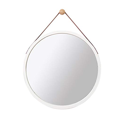 Espejos Espejo Redondo Para Colgar En La Pared, Decoración Moderna, Espejo Plateado HD, Marco De Madera, Espejo De Pared, Espejo De Baño Para Dormitorio, Sala De Estar, Pasillo(Size:45CM,Color:blanco)