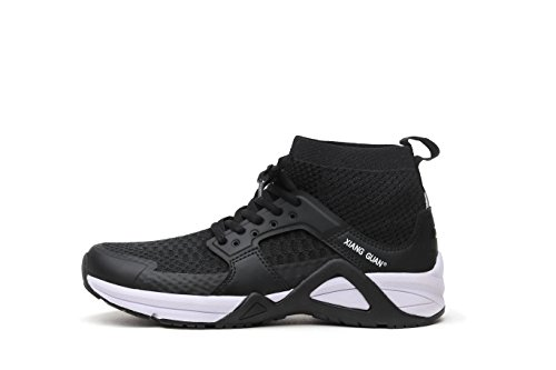 XIANG GUAN Best Running Shoes for Men Walking Hiking Sports Basketball Long Distance Trip Mesh Upper Black Gray Comfortable Sneakers Shoes (11 US, Black)