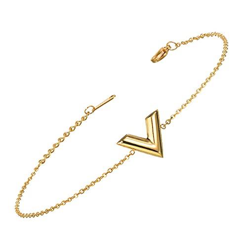Collar de acero inoxidable simple en forma de V para mujer, collar brillante sin decoración, juego de collares con letras, regalo para mujer, pulsera de oro