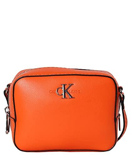Calvin Klein Jeans - Bolso con cremallera y logotipo metálico, color naranja