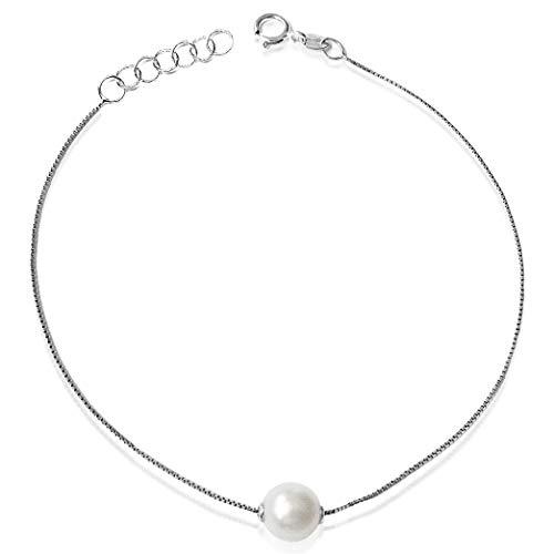 Bracciale Donna Oro e Diamanti, perla 6.0mm–Oro Bianco 9kt 375–Catena a maglia 17cm Clicca su MILLE AMORI blu e scopri tutte le nostre collezioni