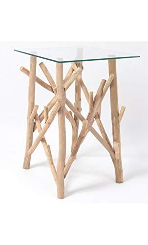 Edell – Tavolino in legno galleggiante e ripiano in vetro Toundra