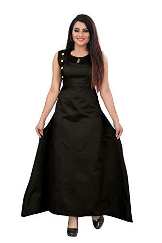 Vaidehi Creation Women's silk Dress Material (vedu_1_ Black_ Free Size)