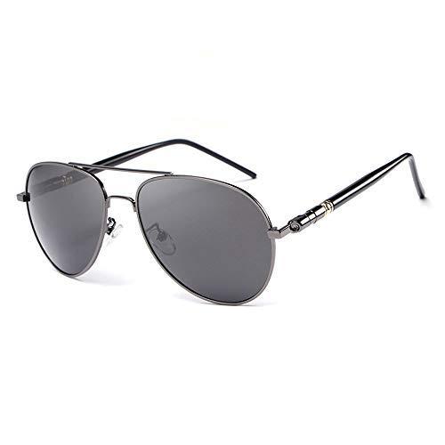 Yeeseu Gafas de sol for hombre de gafas de sol polarizadas recubierto marco de la rana espejo redondo clásico de la película en color Gafas de sol gafas de moda (Color: Negro, Tamaño: Libre) Ciclismo,