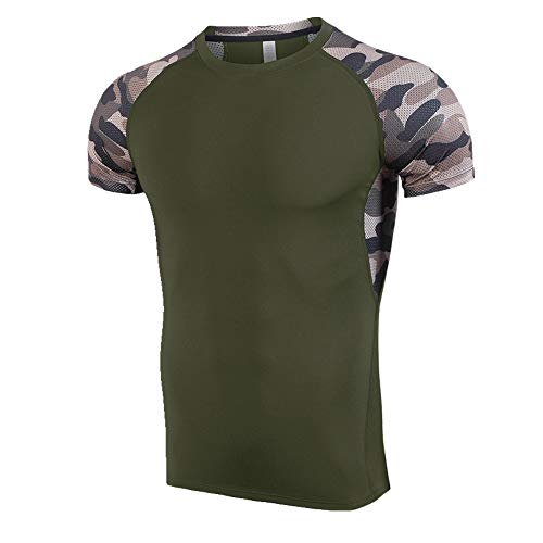 NOBRAND Sport Schnelltrocknendes T-Shirt Herren Training Kurzarm Fitness Anzug Sommer Gr. XL, grün