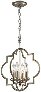 Pendants 4 Light with Aged Silver Finish Candelabra 14 inch 240 Watts - World of Lamp