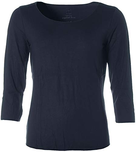 JETTE Damen Basic 3/4-Arm Shirt T-Shirt Rundhals Navy 40
