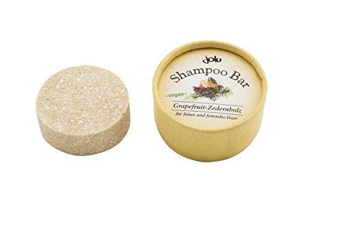 JOLU Festes Shampoo Grapefruit Zedernholz Bio Haarseife fettendes und feines Haar | Shampoo Bar Naturkosmetik Damen Männer | Seife für Haare | Plastikfreies Shampoo vegan ohne Tierversuche