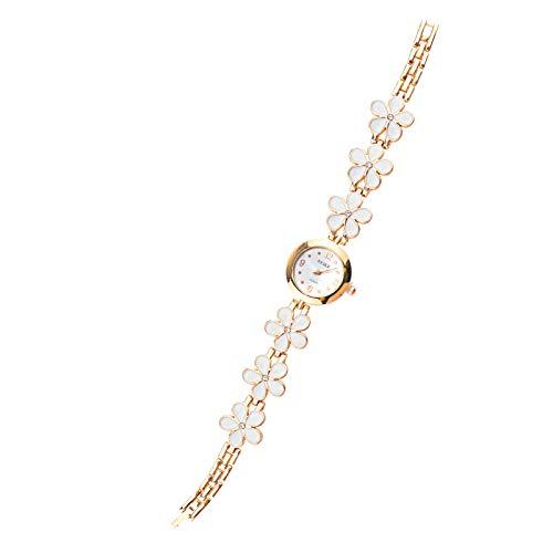 Enet Armbanduhr, modisch, Gänseblümchen-Design, rund, Quarz, analog, Weiß