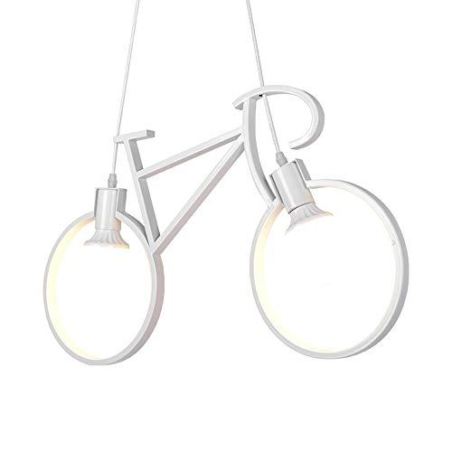 Popertr Personalidad creativa Habitación de los niños Araña de arte Bicicleta LED Luz de suspensión Anti-corrosión Anti-óxido Dormitorio Sala de estar Lámpara colgante Doble cabeza E27 Soporte de lámp