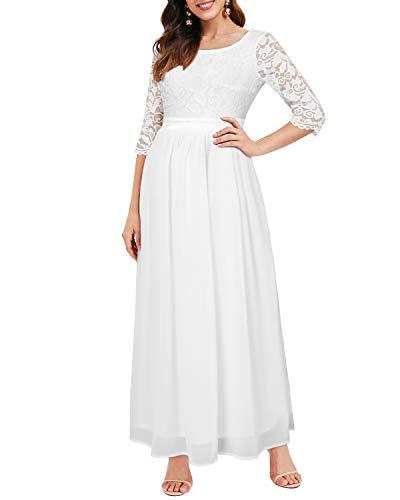Auxo Damen Maxi Kleider Lang Abendkleid Festlich Cocktail Herbstkleider Elegant Brautkleider 01-Weiß L