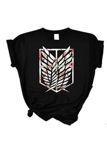 VERROL Camiseta Attack on Titan Mujer Hombre, Moda Oversize Camisetas de Verano Impresión de Manga Corta Anime SNK Levi Ackerman Eren Cosplay T Shirt Adolescentes Chica Tops Tumblr Harajuku Shirt