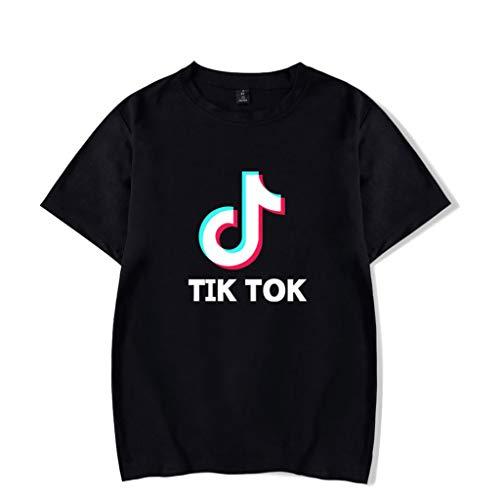 FEIRAN TIK Tok Imprimir Hombres y Mujeres Camisetas Verano Ocio Camiseta de Manga Corta A Black M