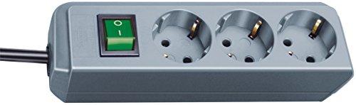 Brennenstuhl Eco-Line, Steckdosenleiste 3-fach (Steckerleiste mit erhöhtem Berührungsschutz, Schalter und 1,5 m Kabel) silbergrau