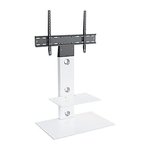 TV Furniture Direct - Support TV type cantilever avec équerre et étagères blanches - Blanc satiné - Pour écrans plasma, LCD, LED, HD, OLED, incurvé de 32 à 60 pouces. Square Shelves blanc