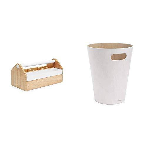 Umbra 290240-668 Toto Aufbewahrungskasten, Schmuckbox mit beweglicher Metallablage, Holz / Metall, weiß / natur & Woodrow Abfalleimer – Zweifarbiger Holz Papierkorb, 7,5l Fassungsvermögen, Natur/Weiß