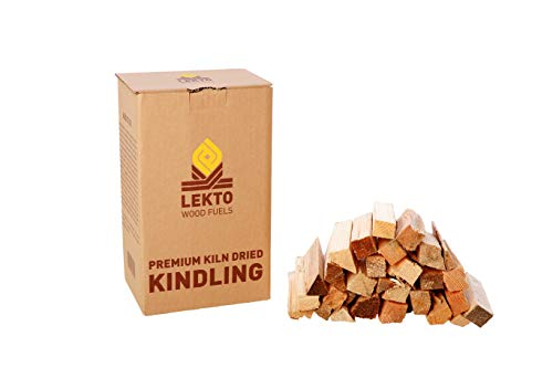 Lekto Woodfuels Kindling for Wood Burner Log Stove Fire Pit Chiminea Pizza Oven Camp or Open Fire | Kiln Dried Hardwood Kindling in Easy Store Boxes (Mini Box)
