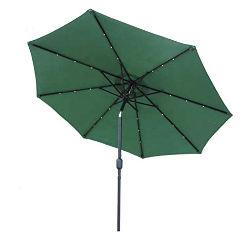 GlamHaus Garden Parasol Tilting Table Umbrella 2.7m UV 40+ Protection with Solar LED Lights, Crank Handle for Outdoors, Gardens and Patios (Green)