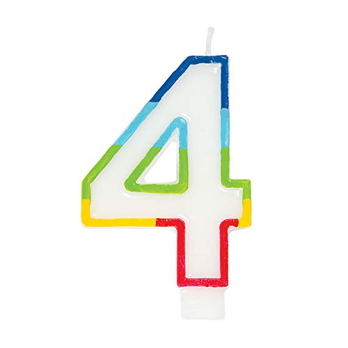 Unique Party - Vela de Cumpleaños con Borde Arcoíris Número 4 (19944)