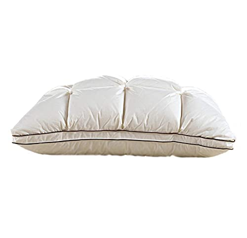 HMMHHE Almohada de la Cama Almohada de Almohada para Almohadas Inserciones de Almohada - Cómoda Suave 100% egipcia Cubierta de Almohada de algodón con Pliegues de pellizco - Natural Blanco Ganso Down