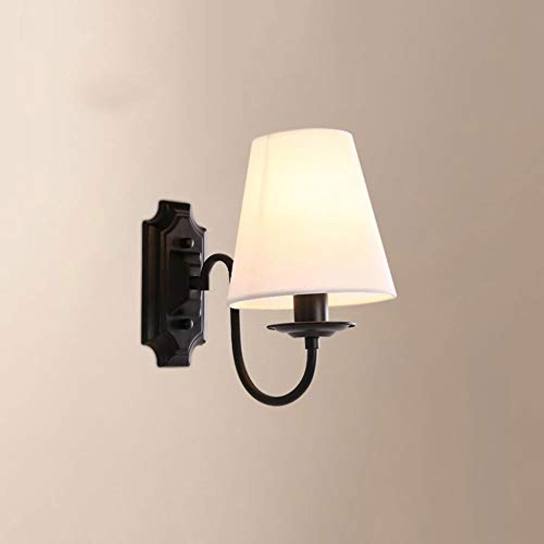 Dicai Wandleuchte Stoff Wandleuchte Metall Wandleuchte American Minimalist Schlafzimmer Nachttischlampe Metall 1 Licht 1 Arm E14 Edison Channel Innengang Leselampe