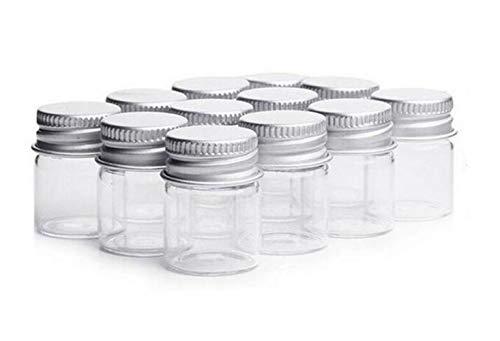 Frasco de cristal transparente de 5 ml con tapa enroscable de aluminio, tarros de muestra vacíos para mensajes en botella, recordatorios de boda y regalos, accesorios de joyería