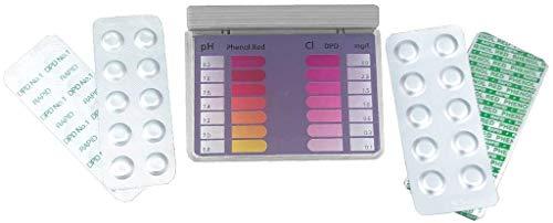 well2wellness® Wassertestgerät Pooltester Chlor und pH mit je 20 Messtabletten