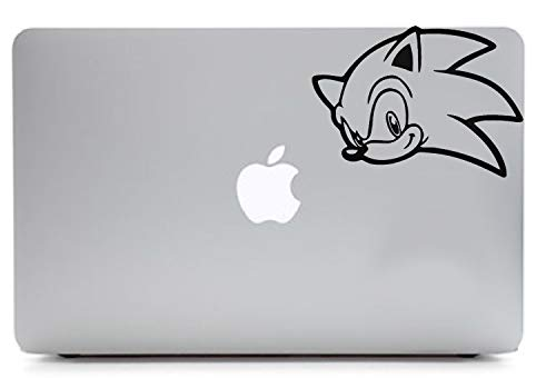 Sonic Game 5.5'W Polyvinyl Sticker for Laptop MacBook Compatible with All MacBook Pro Clear Printed Sticker