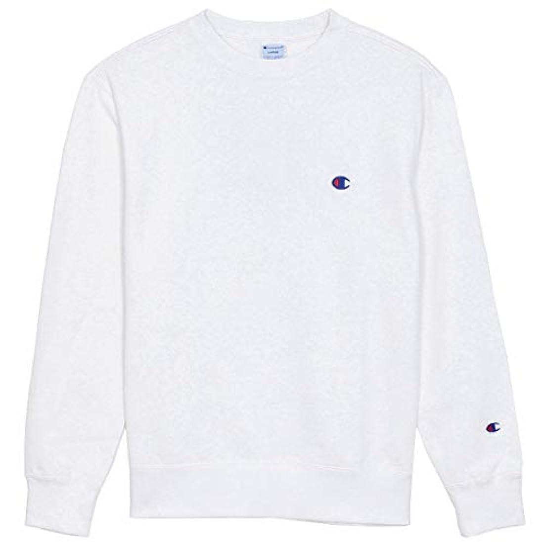 印をつける織るもろいチャンピオン スウェット CHAMPION クルーネック トレーナー 裏毛 ワンポイント メンズ レディース ホワイト