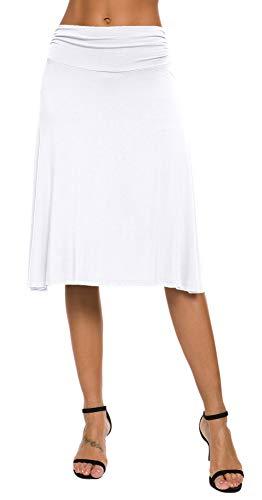EXCHIC Falda de Yoga para Mujer con Mini Llamarada (L, Blanco)