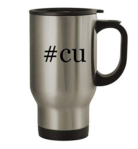 #cu - 14oz Stainless Steel Hashtag Travel Coffee Mug, Silver