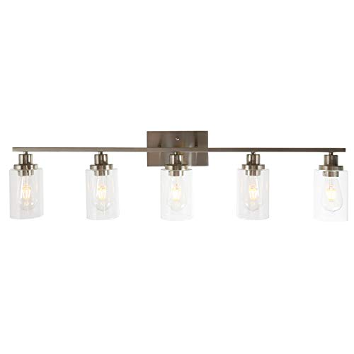 MELUCEE 5-Light Bathroom Vanity Light Brushed Nickel Wall Sconce Modern Light Fixtures Wall Mount with Clear Glass Shade for Porch Bedroom Hallway Kitchen
