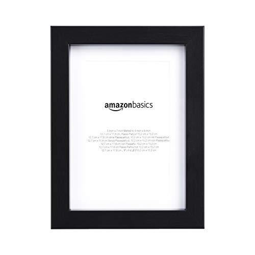 AmazonBasics - Cornice fotografica con passe-partout 13 x 18 cm, 10 x 15 cm con passe-partout, Nero, confezione da 2