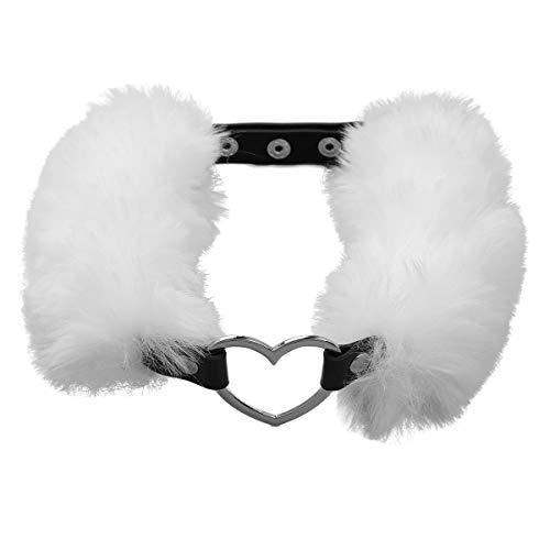 ranrann Damen Halsband PU Leder Choker Kragen Kunstpelz Herzring Harness Hals Geschirr mit Druckknopf Einstellbar Zubehör Weiß One Size