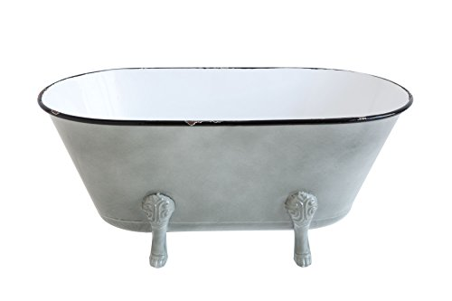 Creative Co-Op Decorative Metal Bathtub Container with Feet