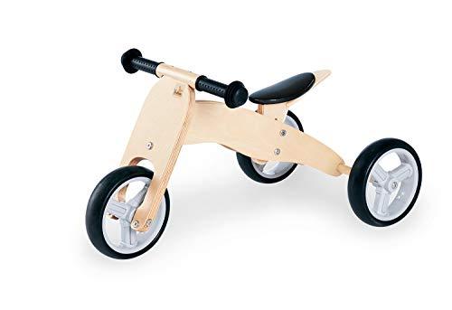 Pinolino Mini Tricycle Charlie - en Bois - 4 Positions - Selle réglable en Hauteur sur 6 Positions - pour Enfants à partir de 1,5 Ans - Naturel