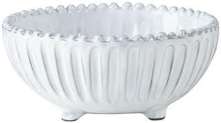 Vietri Incanto Stripe Footed Bowl, White