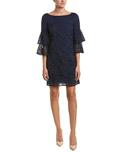 Eliza J Women's Lace Bell Sleeve Shift Dress, Navy, 12